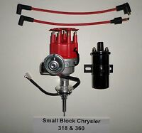 Chrysler Small Block 273-318-340-360 Red Cap Hei Distributor + Black 45k V Coil
