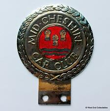 Vintage Enamel Car Badge - The Mid Cheshire Car Club -Auto Mascot Grille Emblem