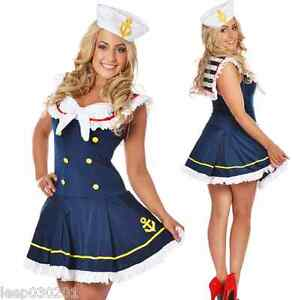 Image is loading Ladies-Sailor-Fancy-Dress-Costume-Skirt-Blue-&-  sc 1 st  eBay & Ladies Sailor Fancy Dress Costume Skirt Blue u0026 White Outfit Hat Sexy ...