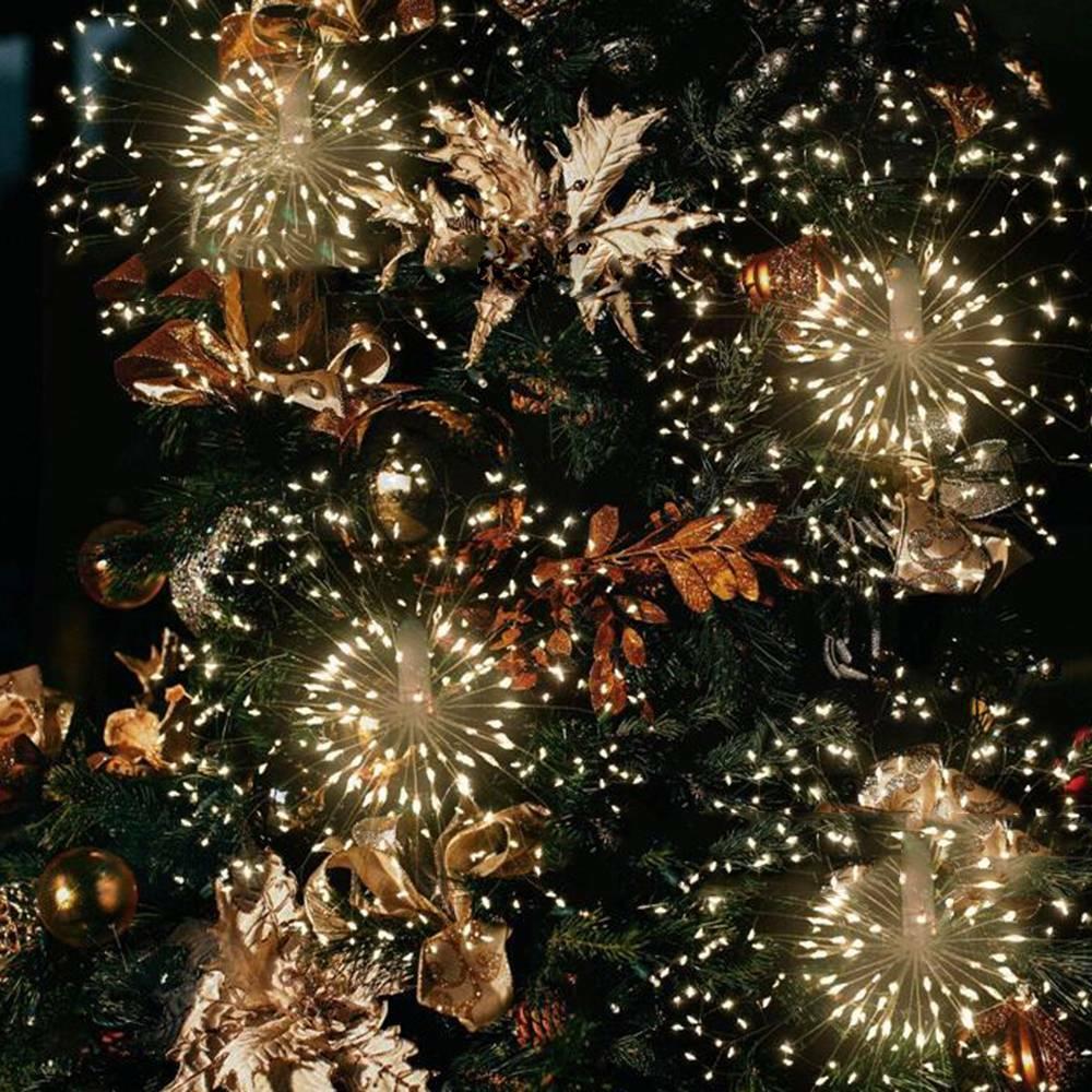 Hanging Firework LED strip Fairy String Light 8Modes Remote Christmas Xmas Decor