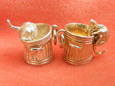 VINTAGE STERLING SILVER CHARM CAT IN A DUSTBIN MOVES