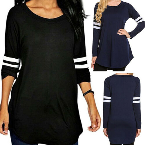 Womens Baseball Shirts Autumn Long Sleeve Casual T-Shirt Sweatshirts Blouse Tops