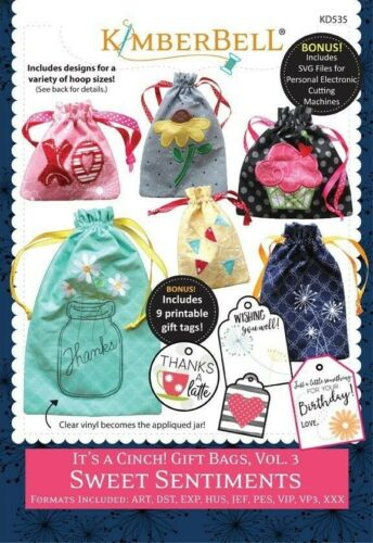 Kimberbell It/'s a Cinch Gift Bags Vol 3 Sweet Sentiments Machine Embroidery CD
