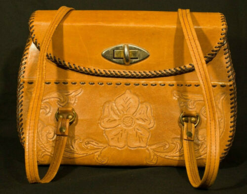 1970's Hand Tooled Bag Vintage Leather Purse Messe