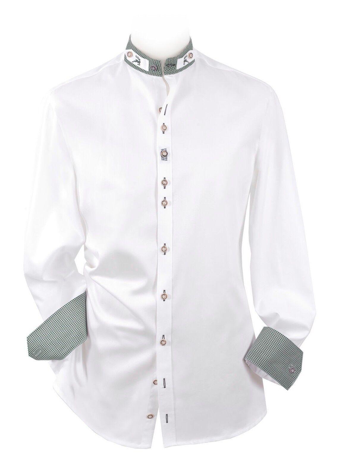 Trachtenhemd SLIM Herrenhemd Herren Langarm Stehkragen Komfort Baumwolle Weiß