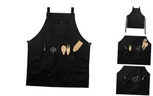 Work Chef Apron in Non-Waxed Canvas with Cross Straps Adjustable for Most Waist