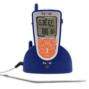 digital bbq ofen thermometer grill bratenthermometer funk mit eingebautem timer ebay. Black Bedroom Furniture Sets. Home Design Ideas