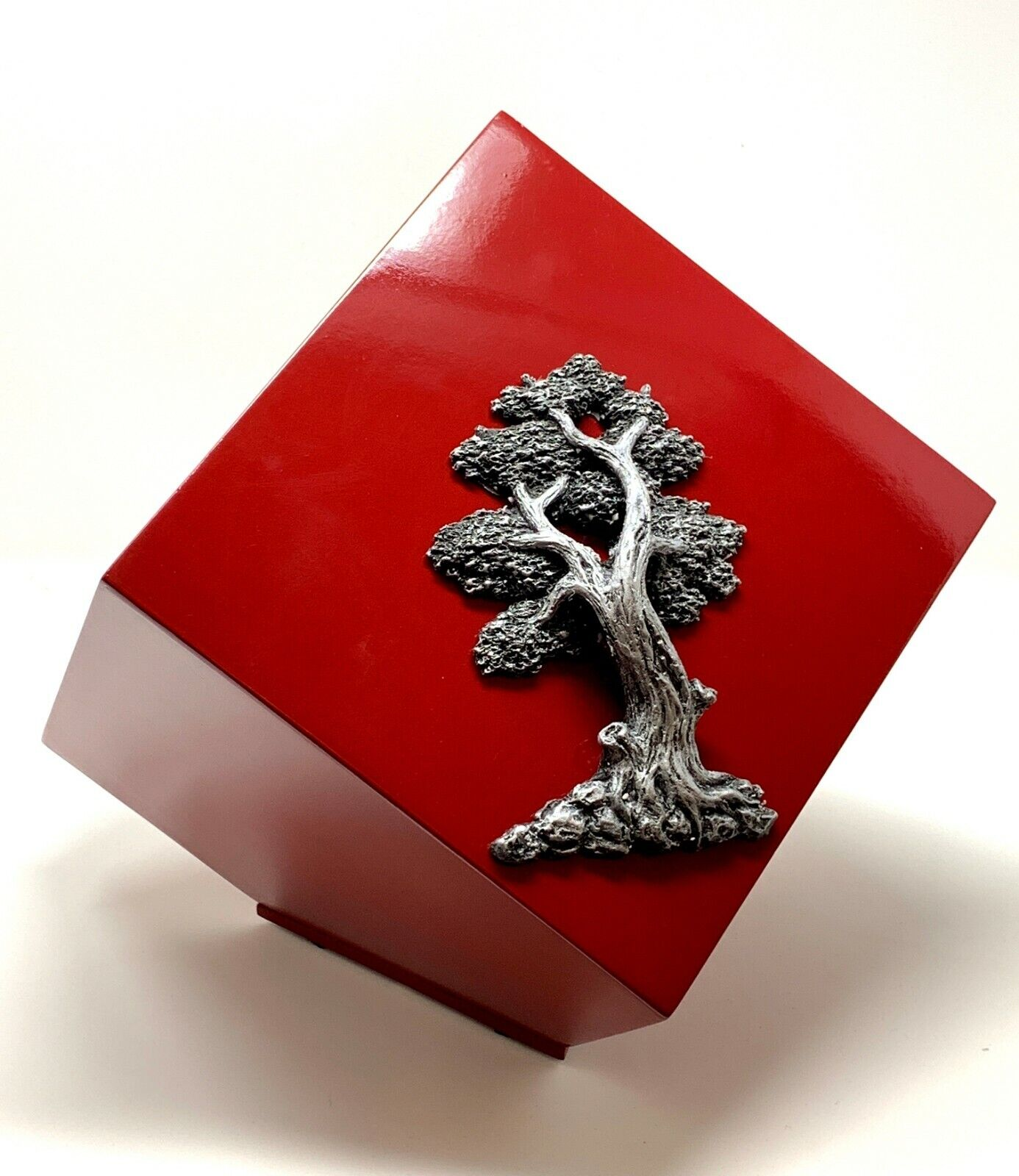 Burial Casket Tree of Life Cremation Urn for Ashes Modern Cube Burial rot Wood