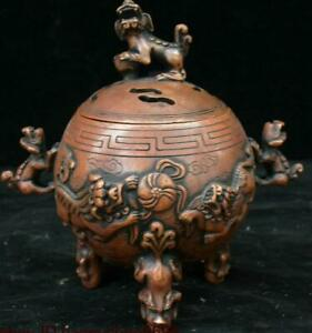 Antique-Chinese-Bronze-Lion-Beast-Ball-Incense-Burner-Censer-Incensory-Thurible
