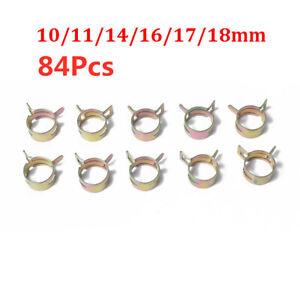 84Pcs Car Spring Clip Fuel Line Hose Clip Air Tube Clamp Fastener 10-18mm 6 Size