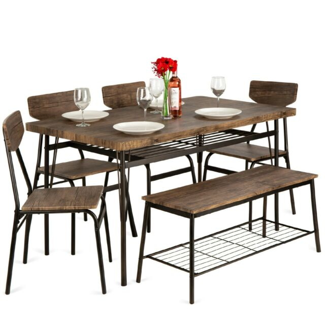6 Piece Home Dining Set Modern With Storage Racks Table Bench And 4 Chairs Brown For Sale Online Ebay
