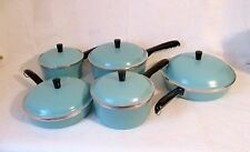 vintage 5 pc. club Holiday cookware set turquoise stainless, aluminum, porcelain