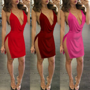 Cocktail-Bodycon-Sleeveless-Women-039-s-Bandage-Club-Party-Evening-Ladies-Mini-Dress