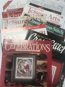 Lot-of-9-Cross-Stitch-Magazines-Christmas-Just-Leisure-Arts-For-The-Love-Charts