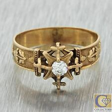1880s Antique Victorian 14k Solid Yellow Gold .10ct Diamond Engagement Ring
