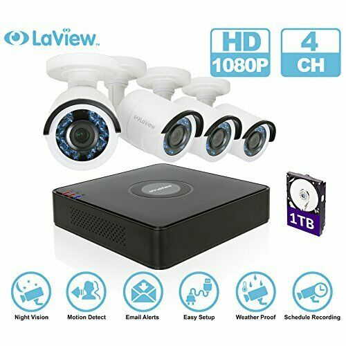 Black LaView LV-KT934HS4A5-T1 4CH DVR 1080P 4 Bullet Cameras With 1TB HDD