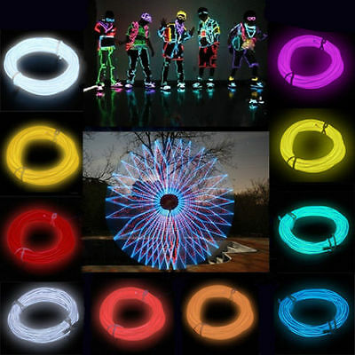 9Color Flexible Neon Light Glow EL Wire Rope Cable Strip LED with Battery JUST