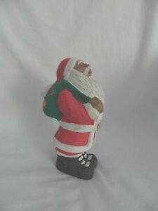Egyptian-Large-Santa-Claus-Clay-Statue-Handmade-Red-White-Green-7-25-034-Sale