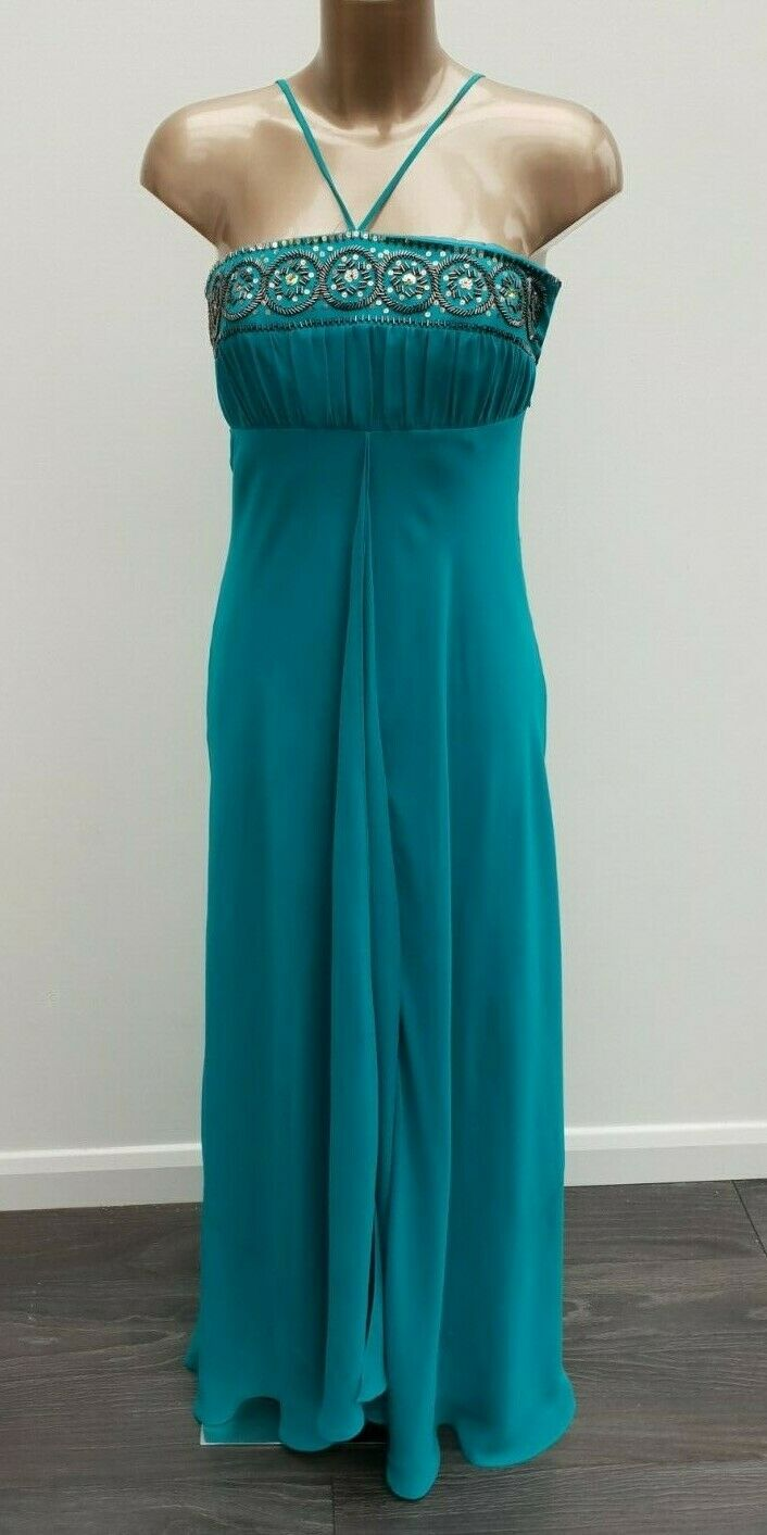 Monsoon 100% Pure Silk Special Occasion Teal Embellished Dress US 4 Eur 36