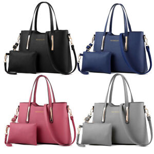 2 in 1 Womens Leather Shoulder Bag Top-handle Handbags For Girls Office Ladies