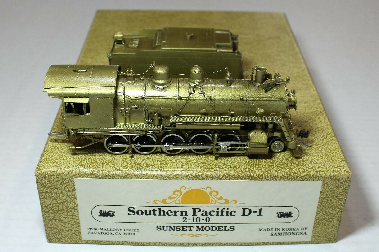 Sunset Models Brass HO Scale Southern Pacific SP 2-10-0 D-1 Steam Locomotive