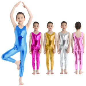 Kids Girls Dance Leotard Ballet Jumpsuit Gymnastics Shiny Jumpsuit Costume 4-14Y