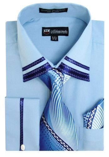Matching Tie and Hanky Set  SG-28 Men/'s French Cuff Casual Dress Shirt