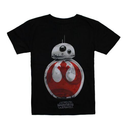 BB8 Rebel Kids T-Shirt Age 3-12 Star Wars Official Black