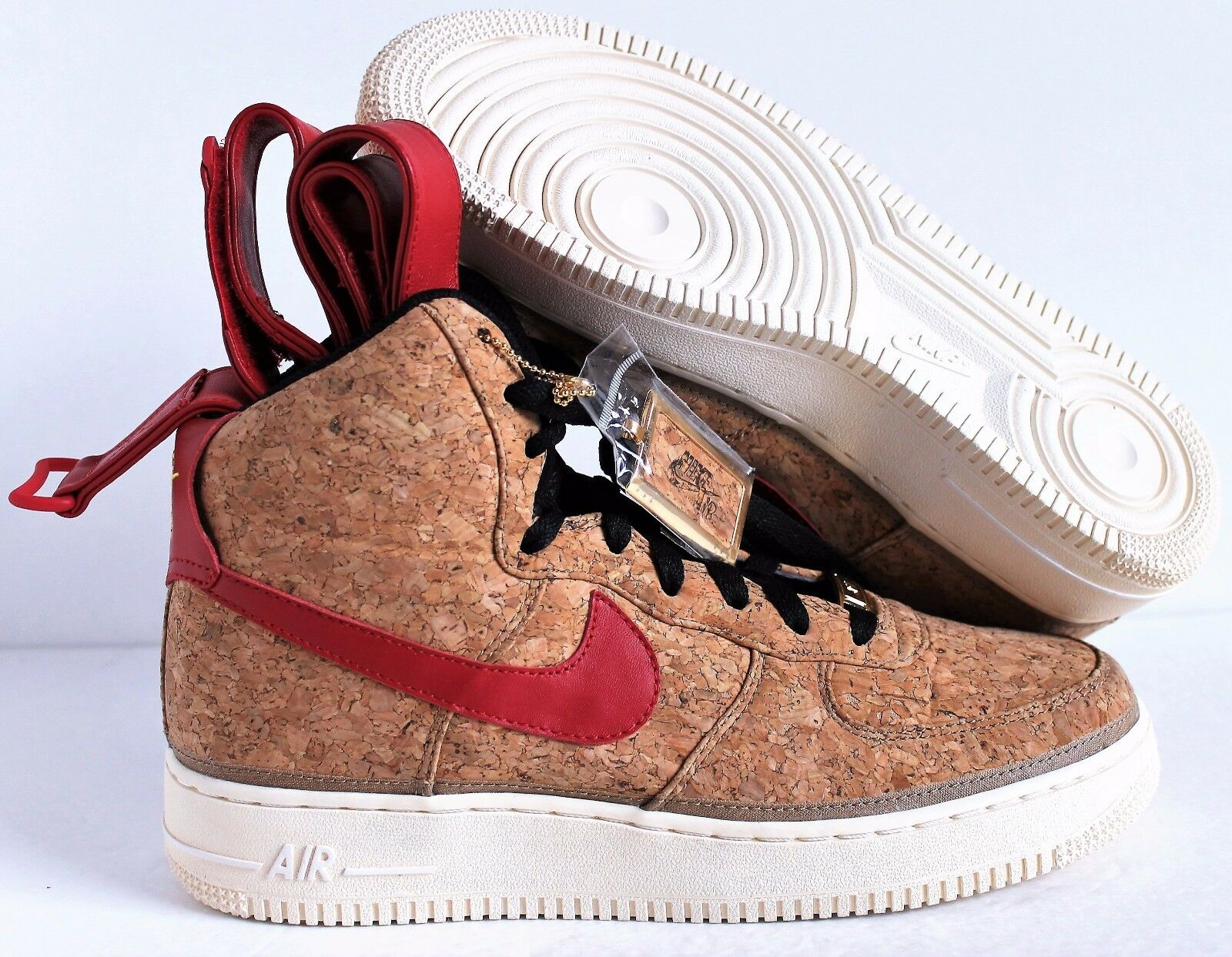 Nike High Air Force  1 High Nike Premium ID Cork-Rosso Super Rare SZ 8 [669707-993] b6cc97
