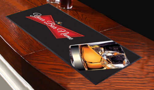 Personalised Whiskey Red Label Bar Towel Runner Pub Party Mat Beer Cocktail Gift