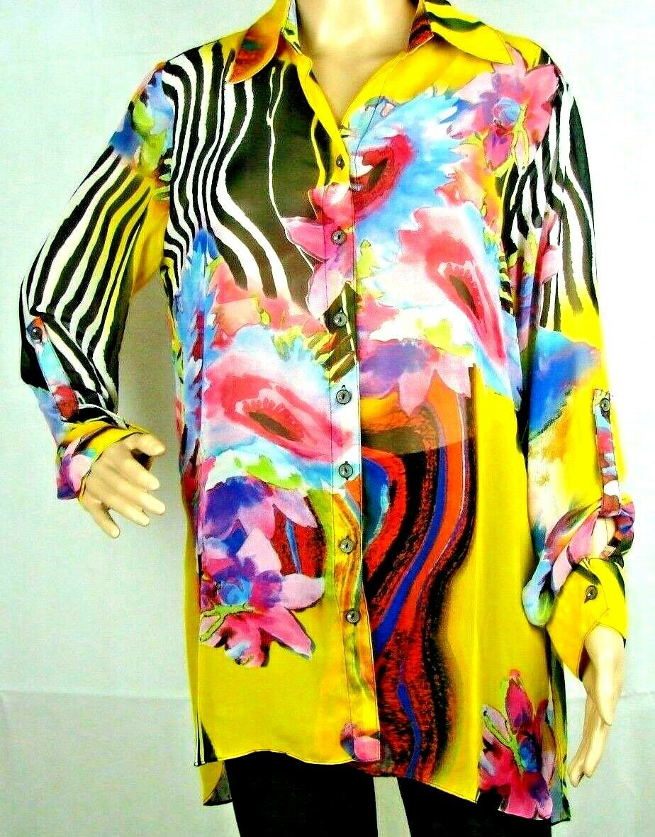 Mishca Semi-Sheer Flowing Hi-Lo Floral Artwork Tunic Top Sz M Multi-colord
