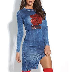 Jeans Robe S Mini De Fᄄᄎte Moulante 36 Robe Robe Robe Jean Paillettes Alina Di Rouge En qVpzUMGS