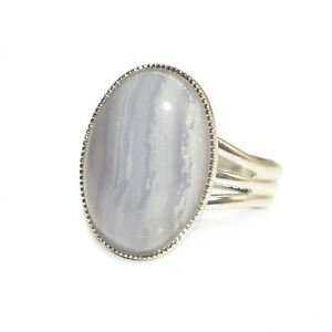 Blue-Lace-Agate-Gemstone-Ring-Semi-Precious-Oval-Adjustable-18-x-13-mm-Silver