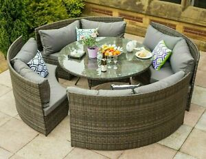 Yakoe Monaco round 8 Seater Patio dining set rattan garden furniture set
