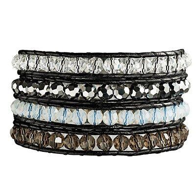 Rafaela Donata Armband Echtleder schwarz Glaskristall klar/braun