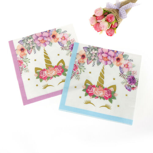20X//lot Flower Unicorn Paper Napkins Party Tissue For Birthday Wedding Party