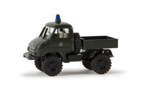 """Brekina 39024 Unimog 411 Pritsche /""""Polizei/"""" Blaulicht grün 1:87 NEU OVP"""