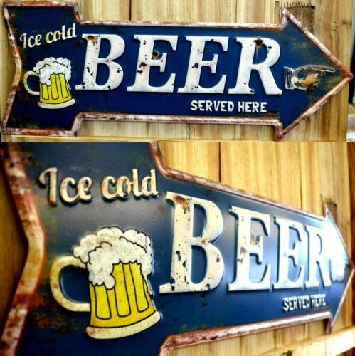 Blechschild Bier Pfeil Bierpfeil Beer Bier Kaffee Coffee Hinweisschild Bar NEU