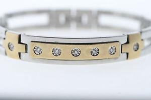 "Stainless Steel & 10k Yellow Gold Genuine Natural Diamond Bracelet 8"""