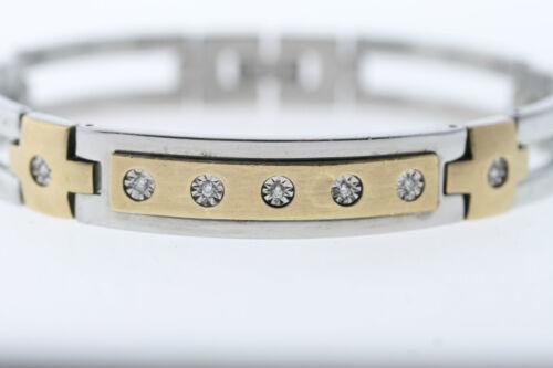 "Stainless Steel /& 10k 1//60 Yellow Gold Genuine Natural Diamond Bracelet 8/"""