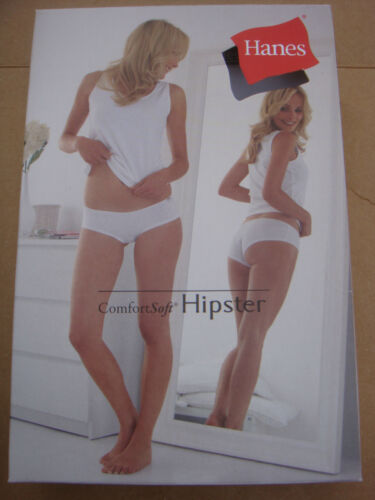 New White HANES Comfort Soft Hipster panties,underwear,knickers,briefs size 12 L