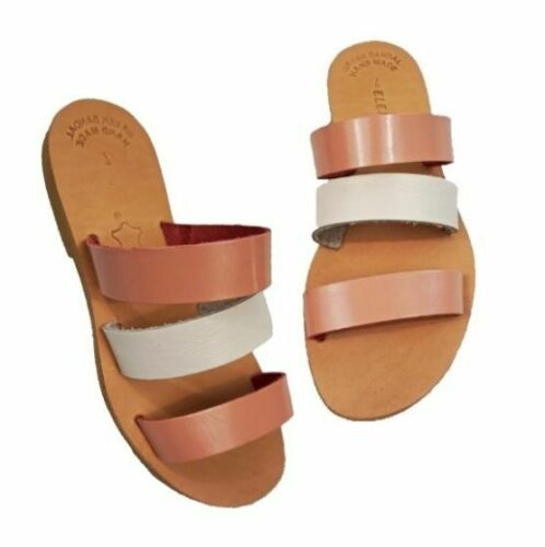Ancient Greek Style Roman Leather Handmade Sandals Shoes Womens Slide Spartan