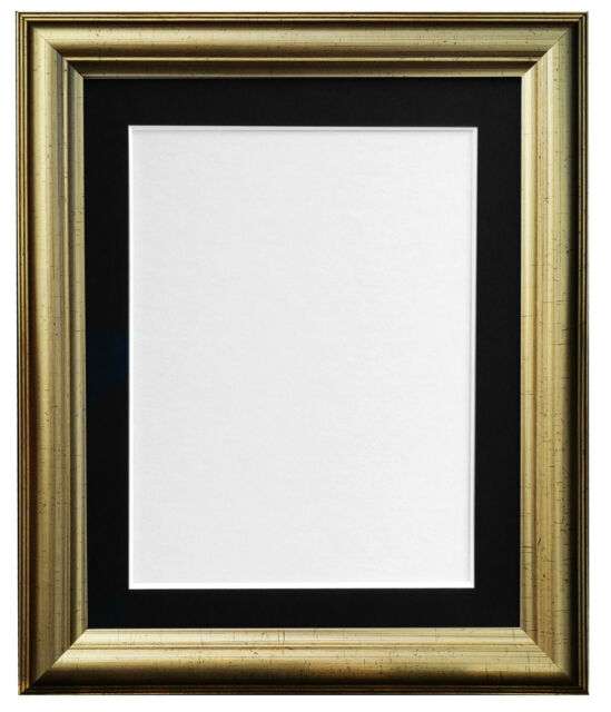 Gold Picture Photo Frame With Mounts in Black White Ivory Pink & Blue CODE 48