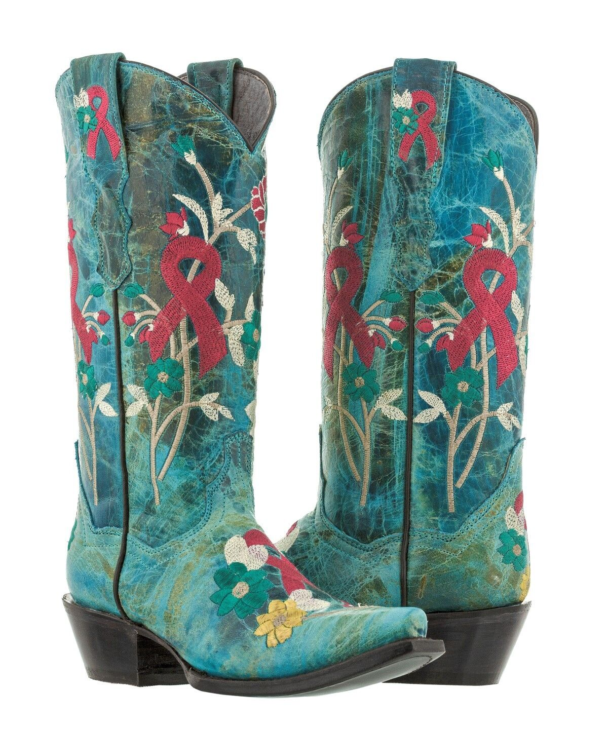 Womens Boots Turquoise Breast Cancer Awareness Ribbon Embroidered Cowgirl Boots Womens Snip 7c4b9c