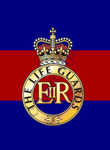 THE LIFE GUARDS CAP BADGE PRINTED ON A METAL SIGN 5 x 7 INCHES.HOUSEHOLD CAVALRY