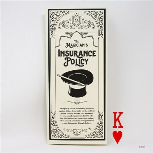 THE MAGICIAN/'S INSURANCE POLICY KING OF HEARTS MAGIC CARD TRICKS PROP STAGE SHOW