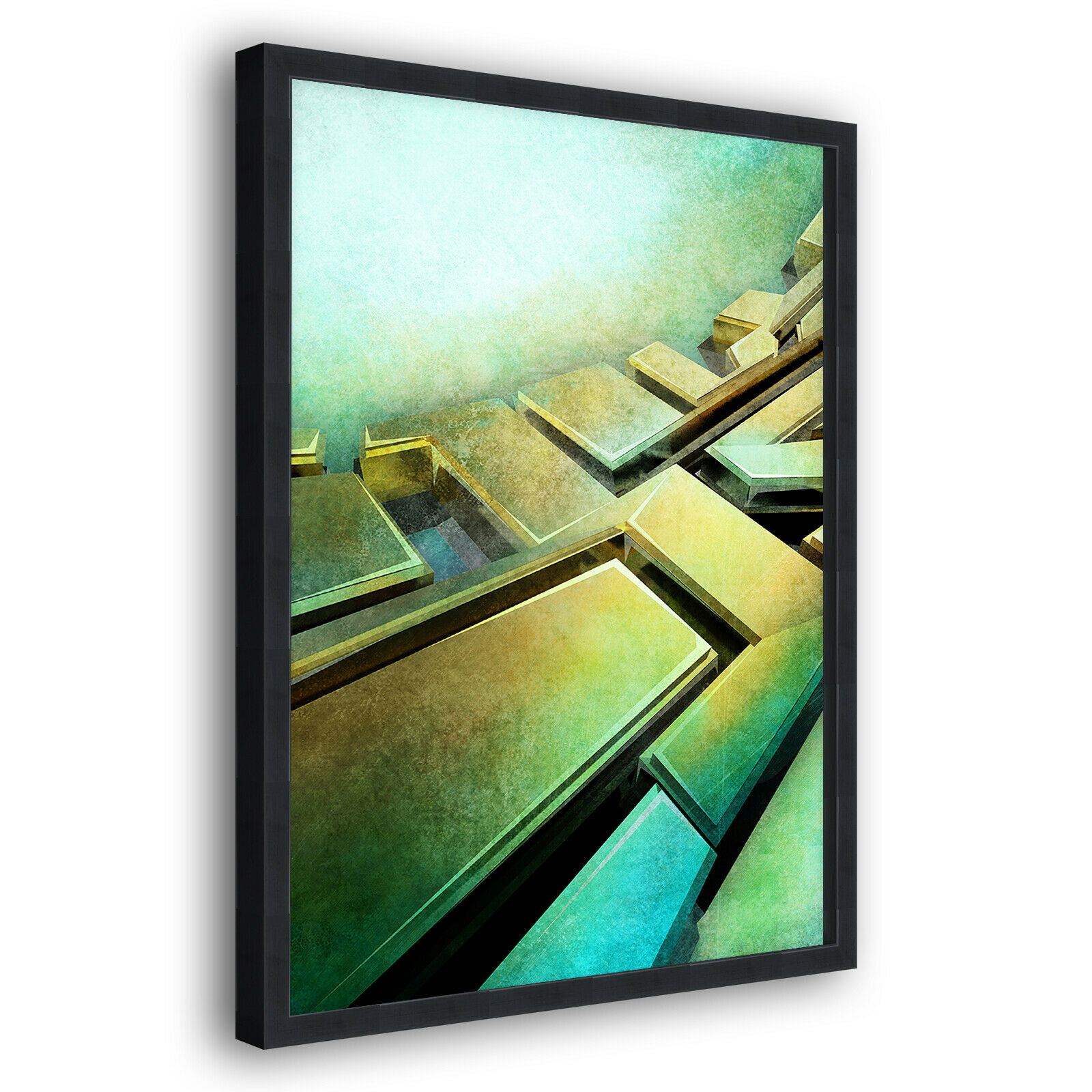Grün Gelb Grunge Modern Portrait Abstract Framed Wall Art Large Picture Print