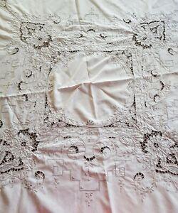 Vintage-Round-Ecru-Cream-Cutwork-Embroidered-Madeira-Tablecloth-165-cm-High-Tea