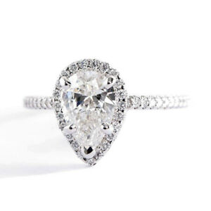 1-60Cts-Si2-G-Corte-Pera-Anillo-de-Compromiso-Diamante-Halo-Platino