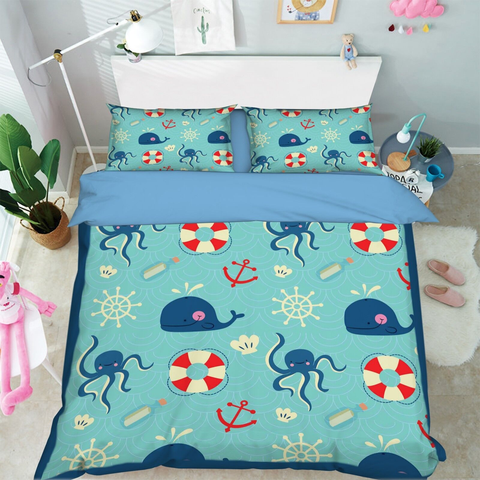 3D Whale Ocean 687 Bed Pillowcases Quilt Duvet Cover Set Single King UK Summer